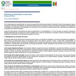 El caso del Perú. Globalización, Multilingüismo y Educación.