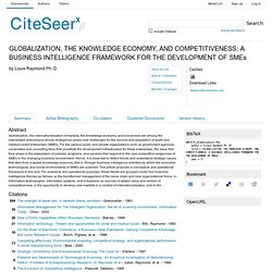 Artigo: GLOBALIZATION, THE KNOWLEDGE ECONOMY, AND COMPETITIVENESS: A BUSINESS INTELLIGENCE FRAMEWORK FOR THE DEVELOPMENT OF SMEs