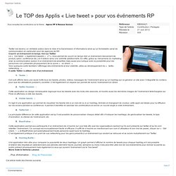 Le TOP des Applis « Live tweet » pour vos événements RP
