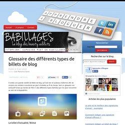 Glossaire des différents types de billets de blog