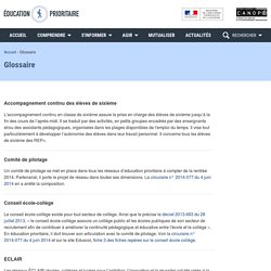 Glossaire- Éducation prioritaire