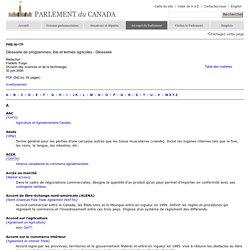Glossaire de programmes, lois et termes agricoles - Glossaire