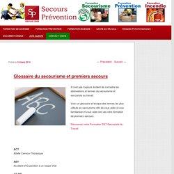 Glossaire du secourisme et lexique premiers secours