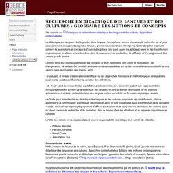 PageD'Accueil - GlossaireDLC AUF : Glossaire des notions et concepts pour la recherche en didactique des langues et des cultures