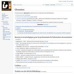 Glossaires des bibliothèques (Bibliopedia)