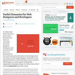 Useful Glossaries For Web Designers and Developers - Smashing Magazine