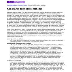 Glossario filosofico minimo (Giovanni Salmeri)