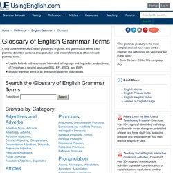 Glossary of English Grammar Terms - UsingEnglish.com