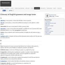 Glossary of English grammar and usage terms