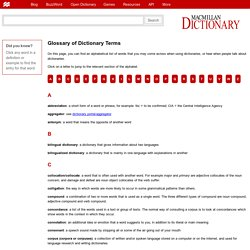 Glossary of dictionary terms
