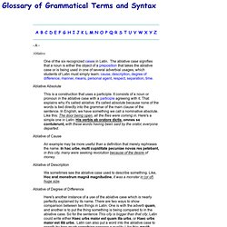 Glossary of Grammar and Syntax