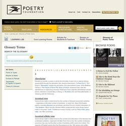 Glossary of Poetic Terms : Learning Lab