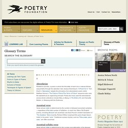 Glossary Terms - Poetry Foundation