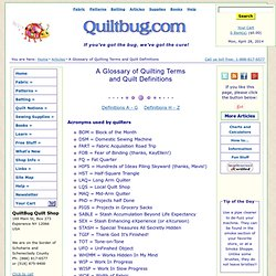 A Glossary of Quilting Terms and Quilt Definitions