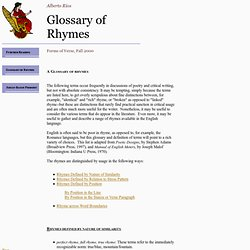 Glossary of Rhymes