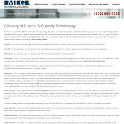 Glossary of Divorce & Custody Terminology