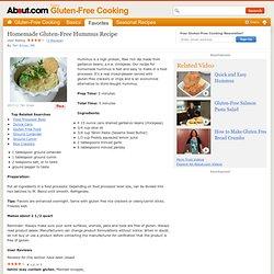 Homemade Hummus - Recipe for Gluten Free Homemade Hummus