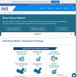 Butyl Glycol Market - Aiming to Smarten up Infrastructural Assets