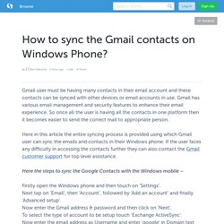 How to sync the Gmail contacts on Windows Phone?