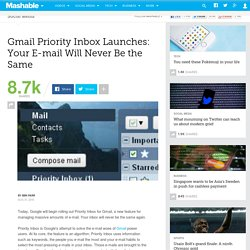 Gmail Priority Inbox Launches: Your E-mail Will Never Be the Same