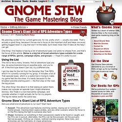 Gnome Stew's Giant List of RPG Adventure Types