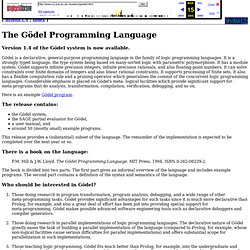 The Goedel Programming Language