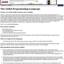 The Goedel Programming Language