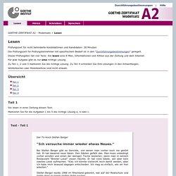 GOETHE-ZERTIFIKAT A2 - Lesen