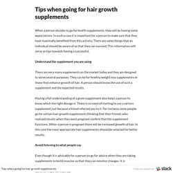 Tips when going for hair growth supplements