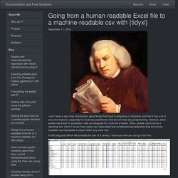 Going from a human readable Excel file to a machine-readable csv with tidyxl