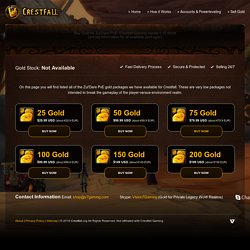 Buy Gold for Zul'Dare PvE: Crestfall Gaming Vanilla 1.12 WoW