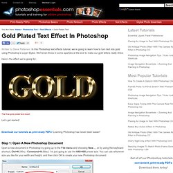 Gold Plated Text Effect In Photoshop
