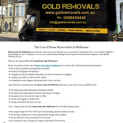 The Cost of House Removalists in Melbourne