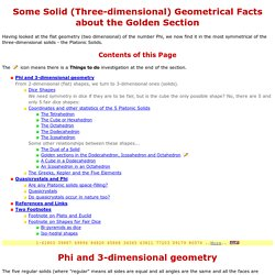 The Golden Geometry of Solids or Phi in 3 dimensions