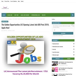 The Golden Opportunities LIC Opening Latest Job ADO Post 2019, Apply Now!