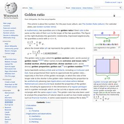 Golden ratio - Wikipedia, the free encyclo