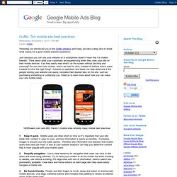 Ten mobile site best practices