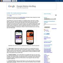 Ten mobile site best practices