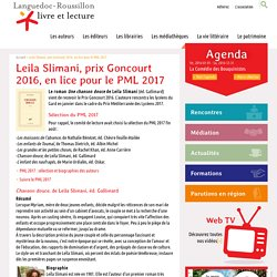 Leila Slimani, prix Goncourt 2016, en lice pour le PML 2017, Languedoc-Roussillon livre et lecture