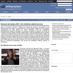 Goncourt des lycéens 2013 : Une invitation à abattre les murs