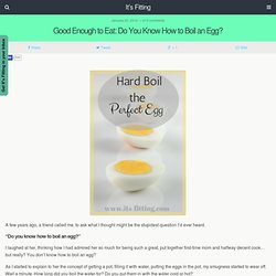Good Enough to Eat: Do You Know How to Boil an Egg? | It's Fitting - It's Fitting