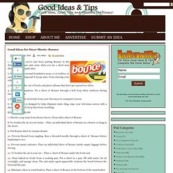 Good Ideas for Dryer Sheets–Bounce