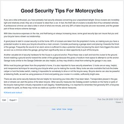 Good Security Tips For Motorcycles