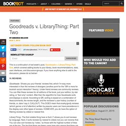Goodreads v. LibraryThing: Part Two