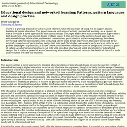 AJET 21(1) Goodyear (2005) - educational design and networked learning: Patterns