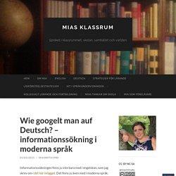 Wie googelt man auf Deutsch? – informationssökning i moderna språk