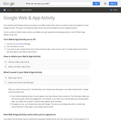 Google Web & App Activity - Search Help