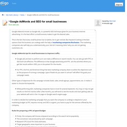 Google AdWords and SEO for small businesses