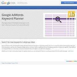AdWords: Générateur de mots clés