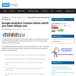 Google Analytics Custom Alerts which you must always use